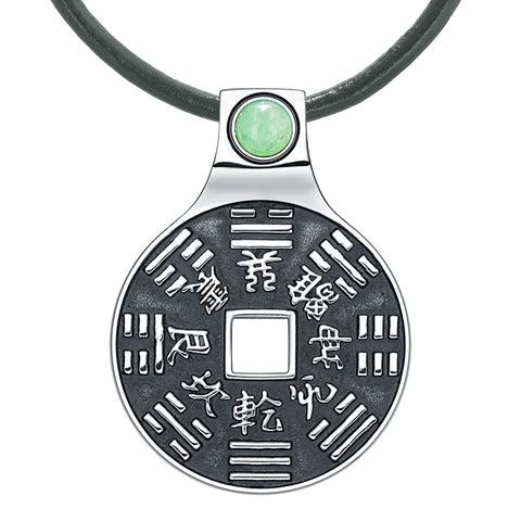 Yin Yang Lucky Coin Amulet BaGua Magic Kanji Forces of Nature Powers Green Quartz Leather Necklace