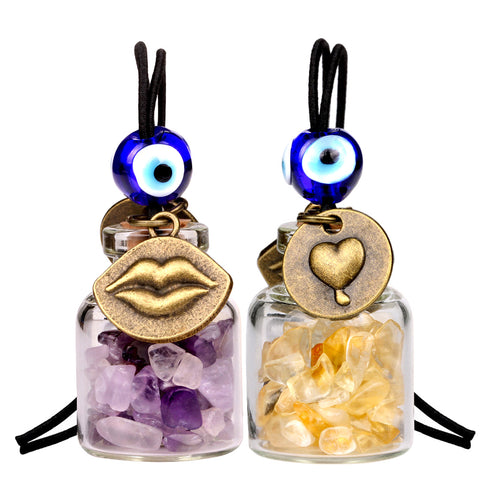 Caring Heart Magic Lips Love Couples Small Car Charms Home Decor Bottles Amethyst Citrine Amulets
