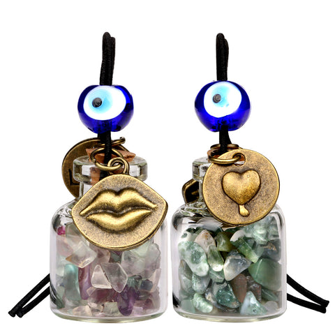 Caring Heart Magic Lips Love Couples Car Charms Home Decor Bottles Fluorite Moss Agate Amulets