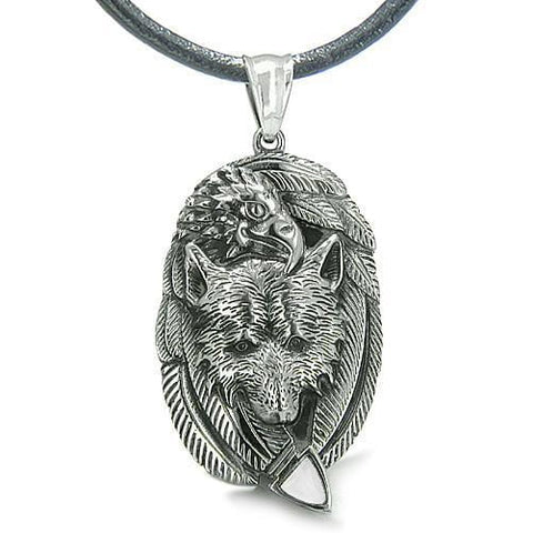 Amulet Courage Wolf Eagle Unity Feathers White Cats Eye Arrowhead Spiritual Pendant Necklace