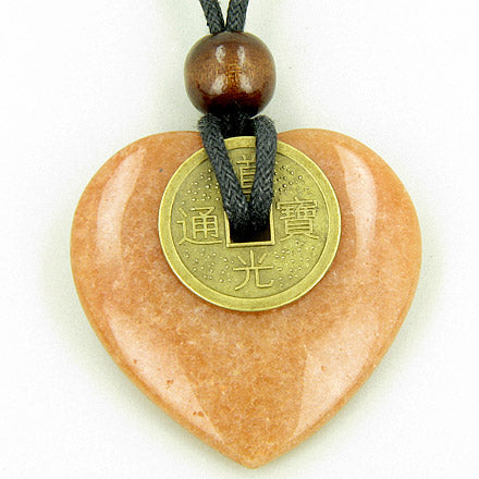 Heart Money Amulet Lucky Coin in Red Aventurine Stone Necklace
