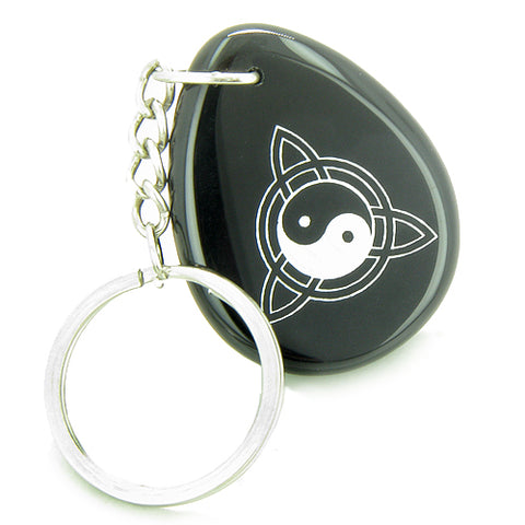 Magic Ying Yang and Celtic Triquetra Knot Amulet Black Onyx Lucky Wish Stone Keychain
