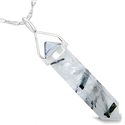 Amulet 925 Sterling Silver Black Rutilated Rock Quartz Crystal Point Healing Power Pendant Necklace