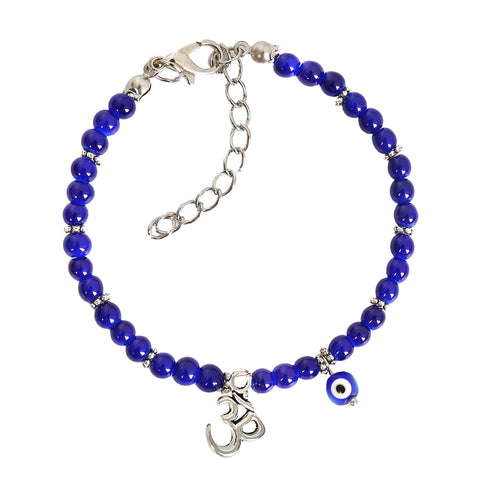 Evil Eye Protection OM Tibetan Spiritual Amulet Royal Blue Accents Magic Lucky Charms Bracelet