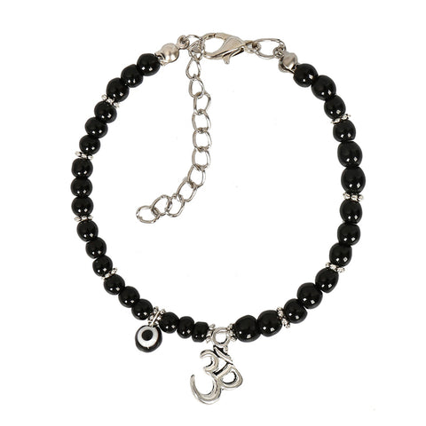 Evil Eye Protection OM Tibetan Spiritual Amulet Royal Black Accents Magic Lucky Charms Bracelet
