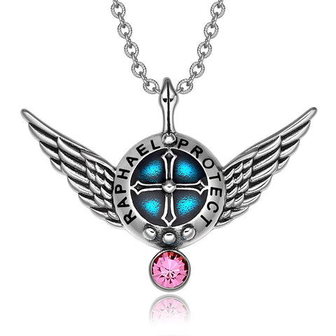 Archangel Raphael Angel Wings Shield Protection Magic Power Amulet Pendant Necklace