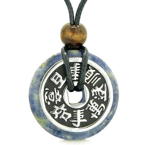 Large Double Lucky Reversible Fortune Coin Donut Sodalite Feng Shui Powers Pendant Necklace