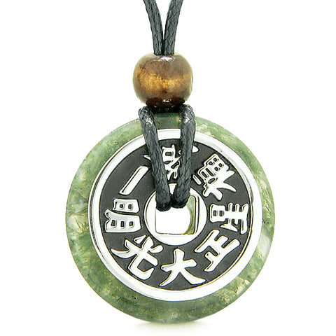 Large Double Lucky Reversible Fortune Coin Donut Green Moss Agate Feng Shui Powers Pendant Necklace