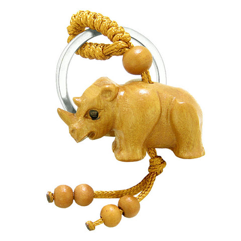 Amulet Baby Rhino Cute Good Luck Charm Protection Powers Feng Shui Magical Keychain Blessing