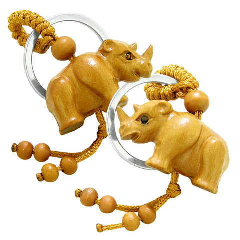 Amulet Baby Rhino Cute Good Luck Charm Protection Powers Feng Shui Magical Keychain Set Blessings
