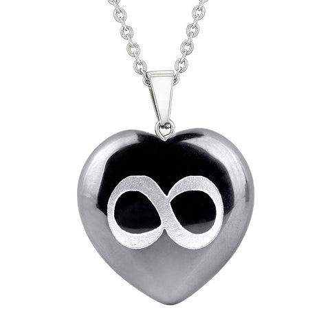 Amulet Infinity Magical Unity Powers Protection Energy Hematite Puffy Heart Pendant Necklace