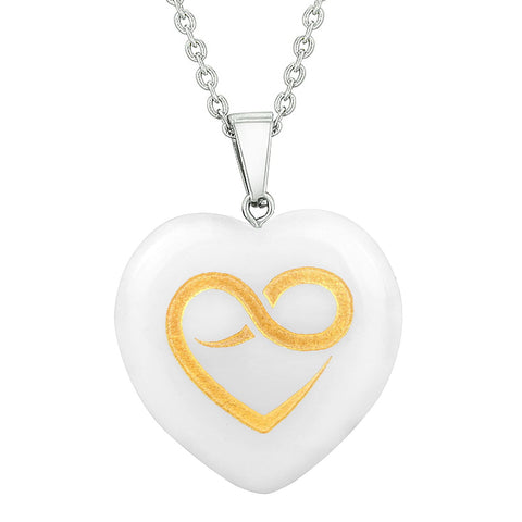 Amulet Infinity Eternity Heart Love Powers Energy Snowflake Quartz Puffy Heart Pendant Necklace