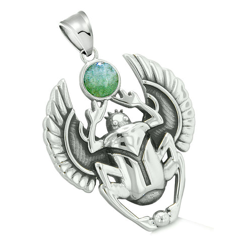 Amulet Egyptian Scarab Rebirth Spiritual Life Magic Powers Green Quartz Pendant Leather Necklace
