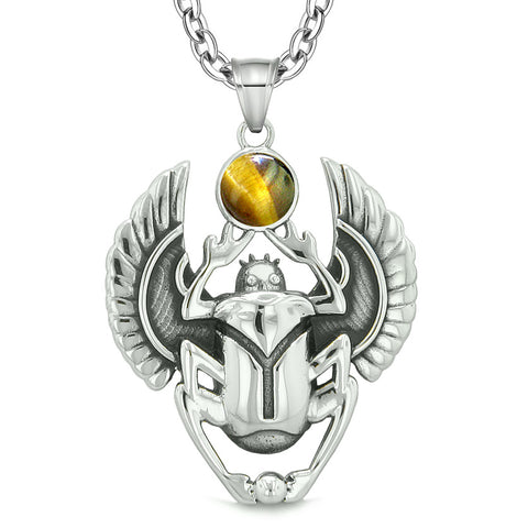 Amulet Egyptian Scarab Rebirth Spiritual Life Magic Powers Tiger Eye Pendant 22 Inch Necklace