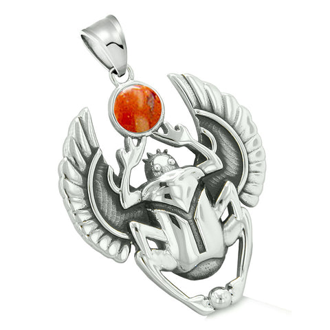 Amulet Egyptian Scarab Rebirth Spiritual Life Magic Powers Red Jasper Pendant Leather Necklace