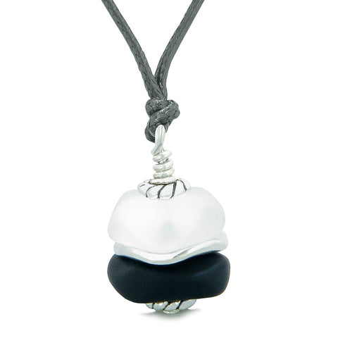 Sea Glass Icy Frosted Waves Holy Cross Black White Positive Energy Amulet Adjustable Necklace