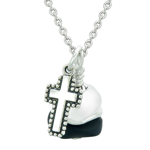Sea Glass Icy Frosted Waves Holy Cross Black White Positive Energy Amulet 18 Inch Necklace