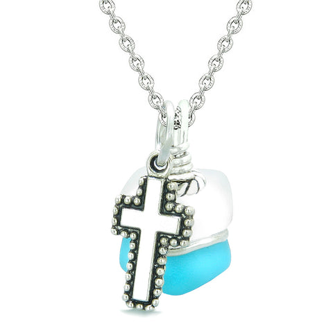Sea Glass Icy Frosted Waves Holy Cross Sky Blue White Positive Energy Amulet 18 Inch Necklace