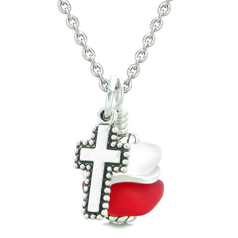 Sea Glass Icy Frosted Waves Holy Cross Royal Red White Positive Energy Amulet 18 Inch Necklace