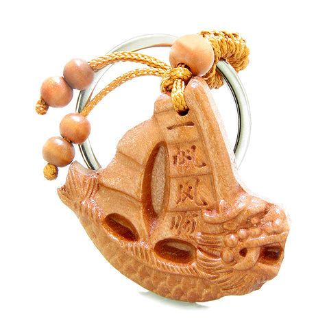 Amulet Courage Dragon and Fortune Sailing Yacht Boat Charms Feng Shui Symbols Keychain Set Blessings