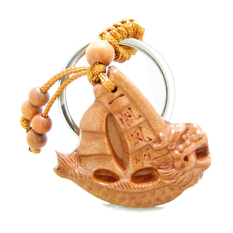 Amulet Courage Dragon and Fortune Sailing Yacht Boat Charms Feng Shui Symbols Keychain Blessing