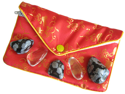 Protection From Evil Eye Pouch In Snowflake Obsidian And Crystal