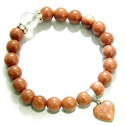 Swarovski and Goldstone Heart Good Luck Talisman Bracelet