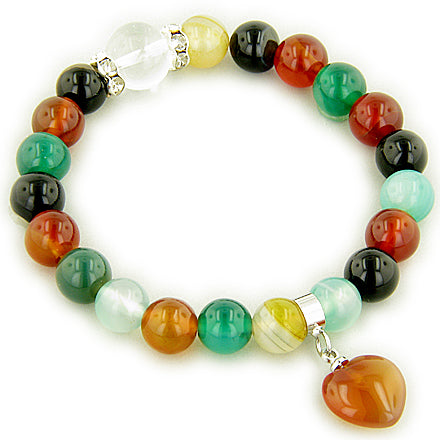 Swarovski And Multicolor Agate Heart Good Luck Talisman Bracelet