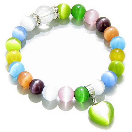 Swarovski Multicolor Cats Eye Heart Good Luck Talisman Bracelet