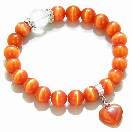 Swarovski Mandarin Cats Eye Heart Good Luck Talisman Bracelet