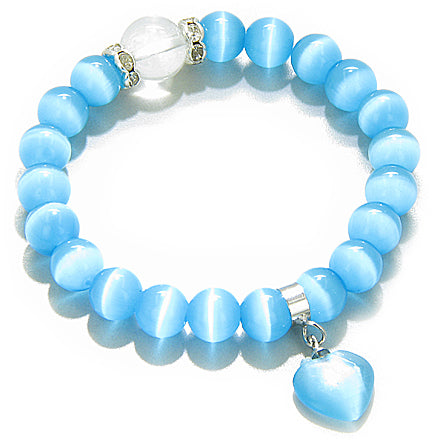 Swarovski Sky Blue Cats Eye Heart Good Luck Talisman Bracelet