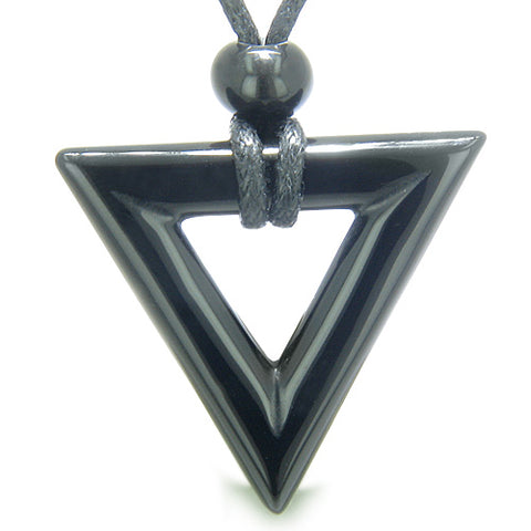 Amulet Triangle Magic Protection Powers Lucky Charm Black Onyx Arrowhead Spiritual Pendant Necklace