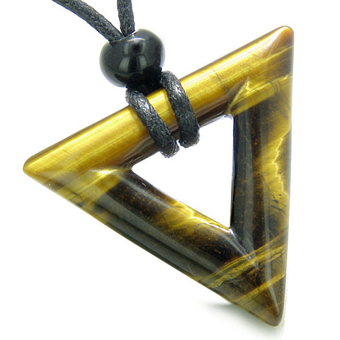 Amulet Triangle Magic Protection Powers Lucky Charm Tiger Eye Arrowhead Courage Pendant Necklace