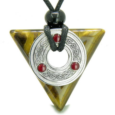 Amulet Celtic Triquetra Knot Trinity Magic Triangle ProtectiEnergies Tiger Eye Pendant Necklace