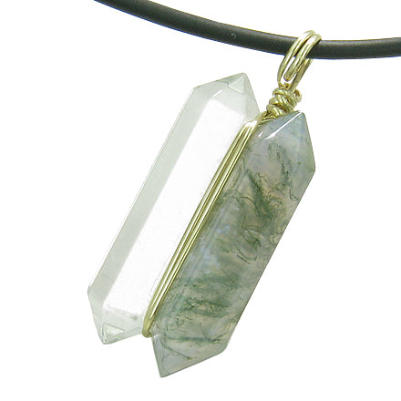 12K Gold Individual Amulet Double Wand Crystal Point Green Moss Agate Quartz Gem Pendant Necklace