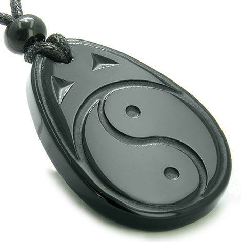 Amulet Ancient Tibetan Yin Yang Good Luck Charm Black Onyx Spiritual ProtectiPendant Necklace