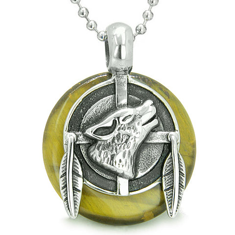 Amulet Howling Wolf Feathers Medallion Protection Powers Tiger Eye Lucky Donut Pendant Necklace