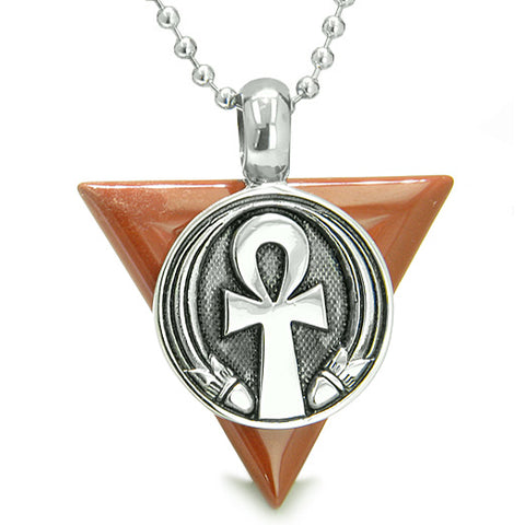Amulet Ankh Egyptian Powers of Life Pyramid Energies Red Jasper Trinity Good Luck Pendant Necklace