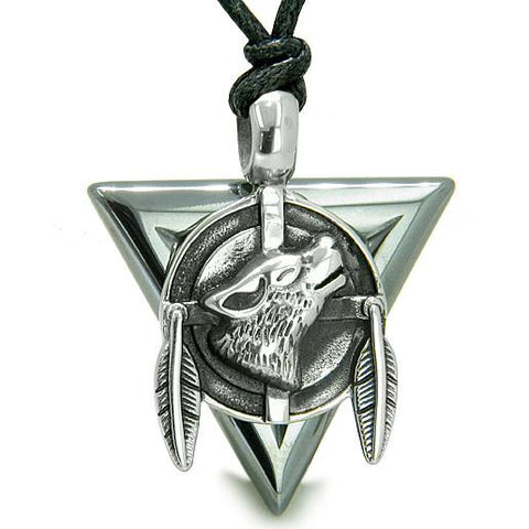 Amulet Arrowhead Howling Wolf Trinity Dreamcatcher Triangle Protection Hematite Pendant Necklace