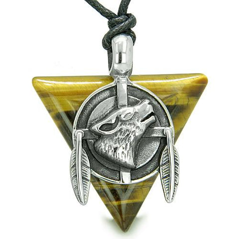 Amulet Arrowhead Howling Wolf Trinity Dreamcatcher Triangle Protection Tiger Eye Pendant Necklace