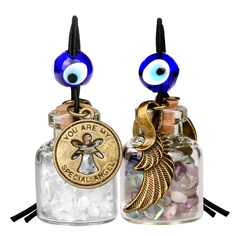 Guardian Angel Wings Magic Powers Small Car Charms Home Decor Gem Bottles Fluorite Quartz Amulets