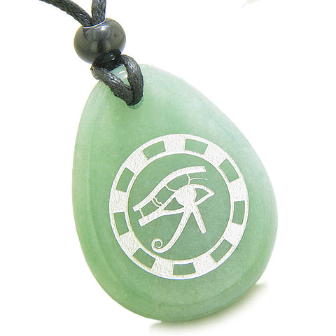 Amulet All Seeing Eye of Horus Ancient Circle of Life Protection Green Aventurine Pendant Necklace