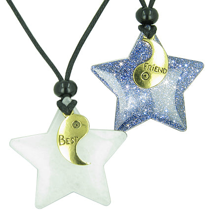 Lucky Best Friends Yin Yang Snowflake Crystal Quartz Blue Gold Stone Star Friendship Necklaces
