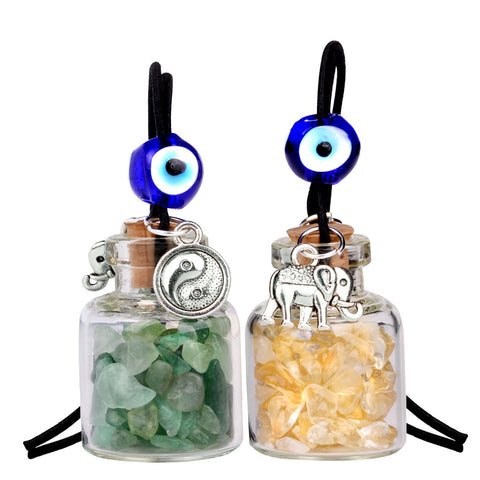 Lucky Elephant Yin Yang Couples Small Car Charms Home Decor Bottles Green Quartz Citrine Amulets