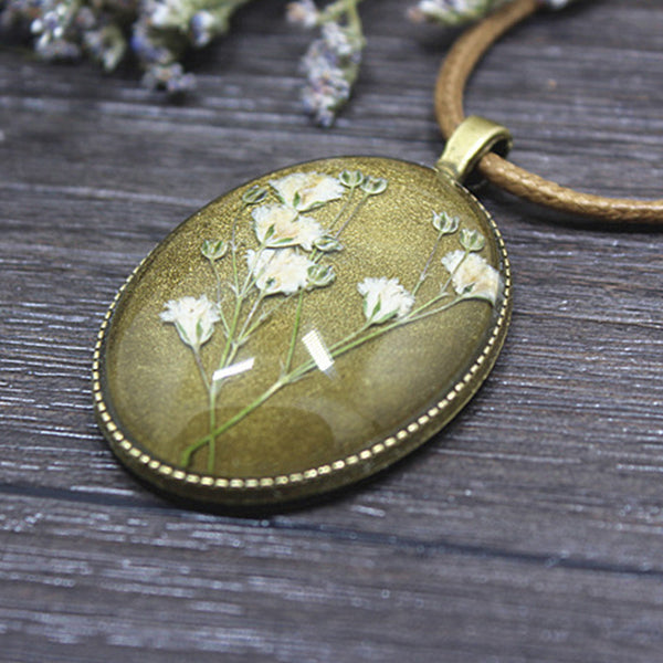 Dried Flower Long Chain Necklace