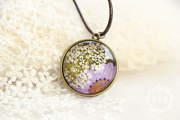 Hand-painted Dried Purple Sun Flower Necklace