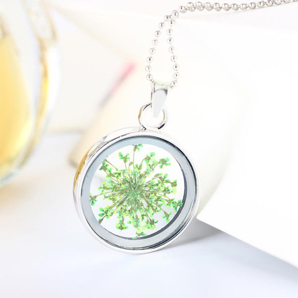 Fashion Women Round Glass Dried Flowers Pendant Necklaces