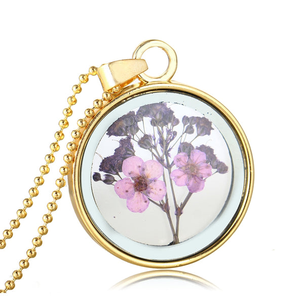 Dried Flowers Round Glass Ball Pendant Necklace