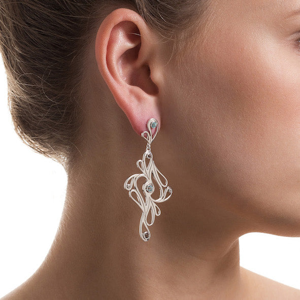 Mari Splash Earrings Silver