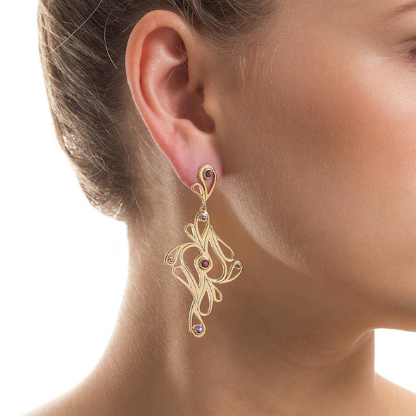 Mari Splash Earrings Yellow Gold